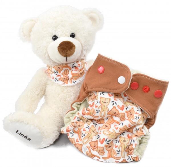 Neugeborenen Set: Teddy mit Namen & Wollwindel