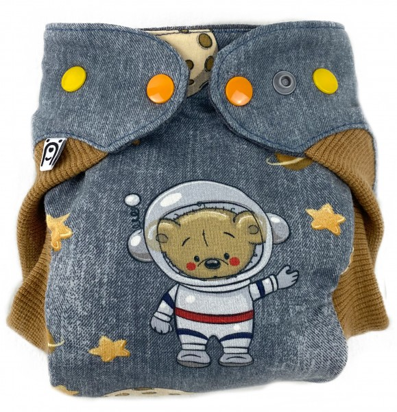 Wollwindel AstronautenBär mit Wollbündchen