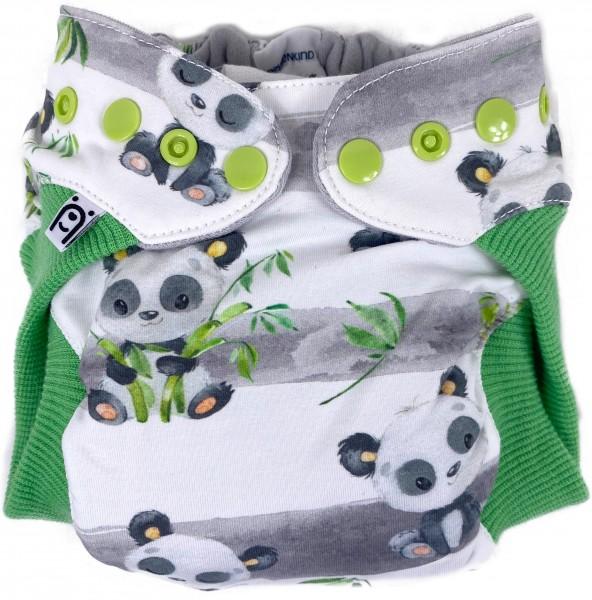 Wollwindel PandaGlück mit Wollbündchen