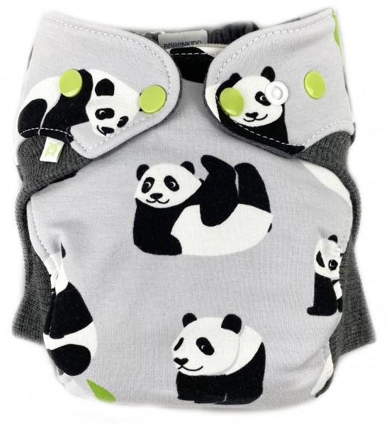 Wollwindel PandaBär mit Wollbündchen